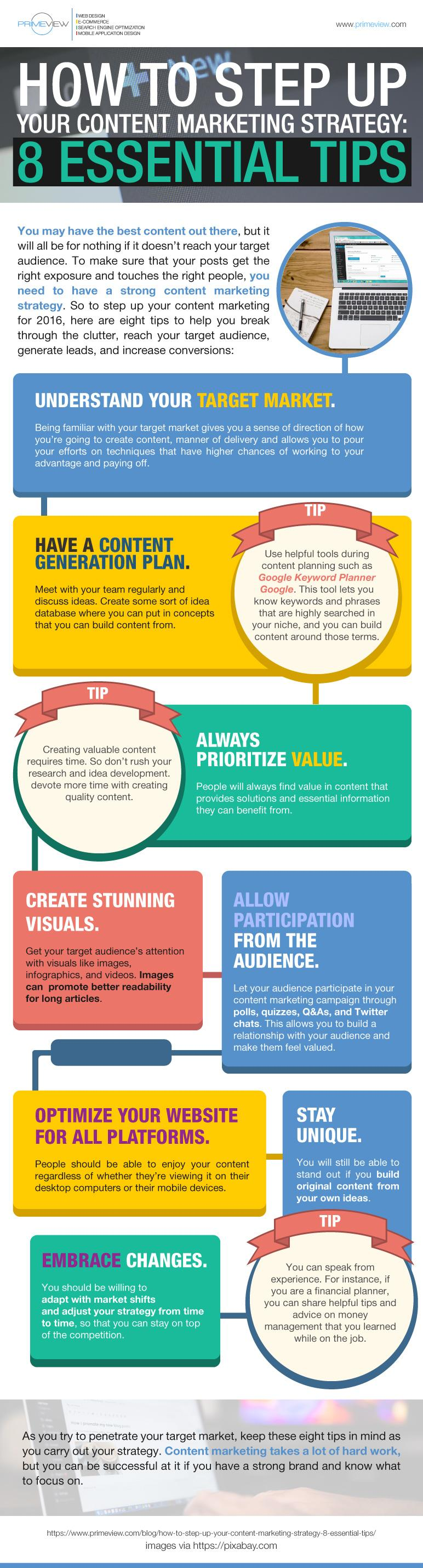 How to Step Up your Content Marketing Strategy 8 Essential Tips Infographics