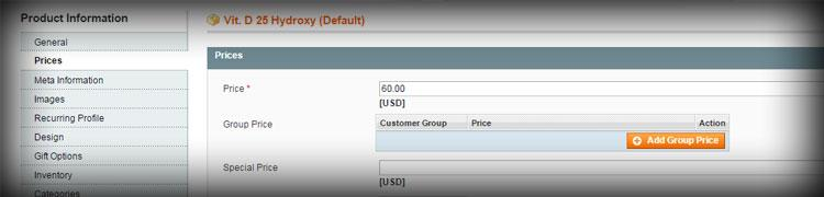Magento has customized product options