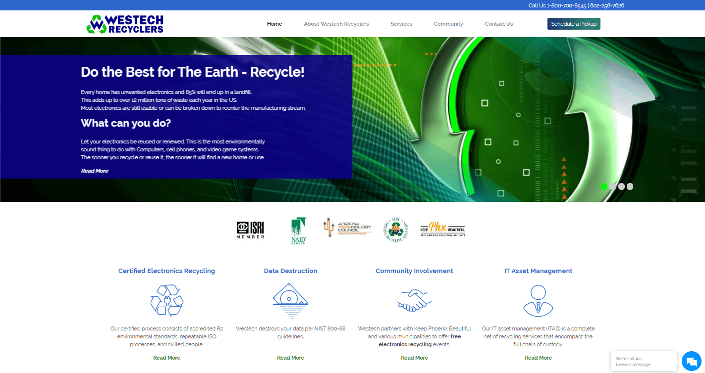 PrimeView's Website Refresh & Enhancement for Westech Recyclers