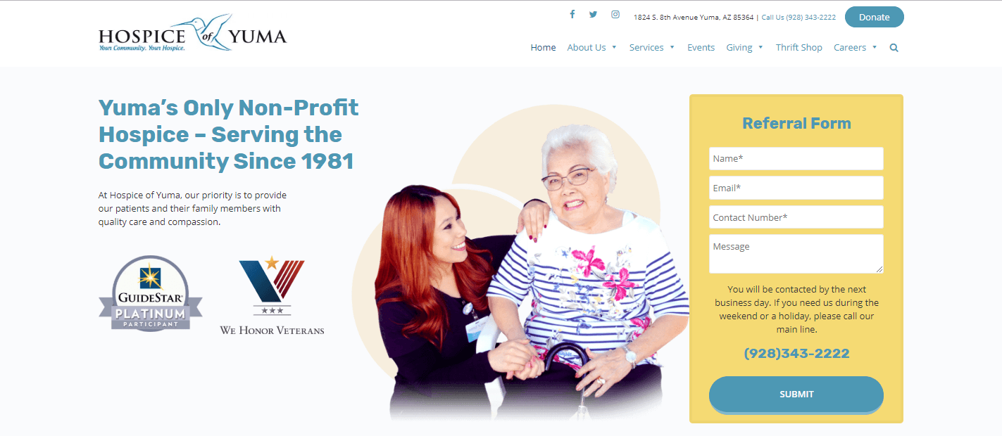 Hospice of Yuma gets Website Redesign and Upgrade