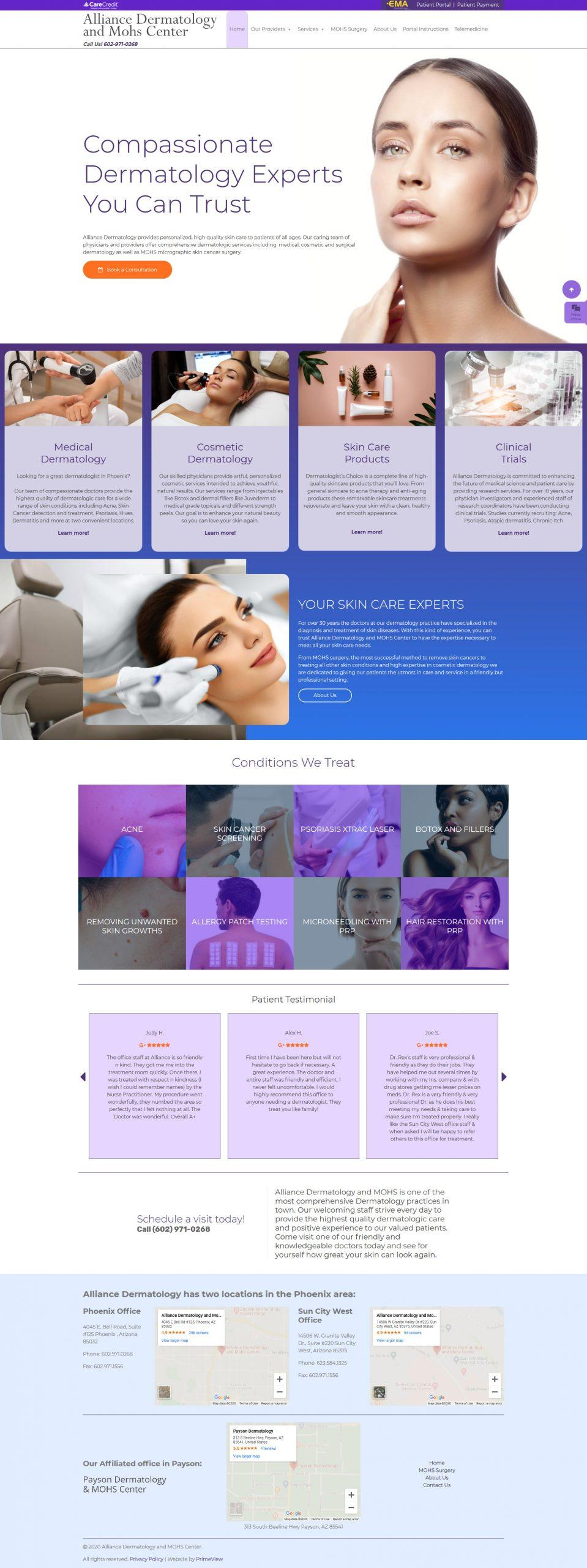 Alliance Dermatology & Mohs Center Gets New Skin With a Website Redesign